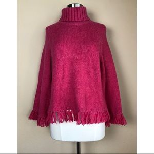 TORY BURCH PINK FRINGE WOOL/ALPACA BLEND SWEATER S